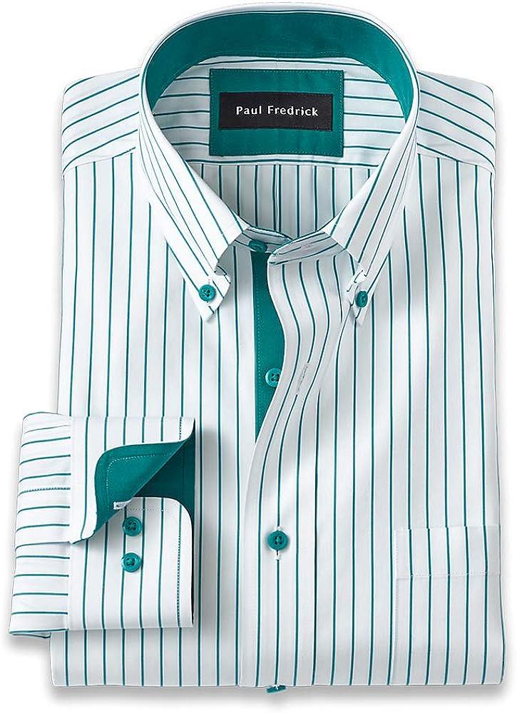 Paul Fredrick Men's Tailored Fit Non-Iron Cotton Stripe Dress Shirt