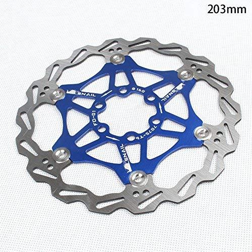 Wovemster Frenos de bicicleta MTB, disco flotante de bicicleta de montaña, 203 mm (azul)