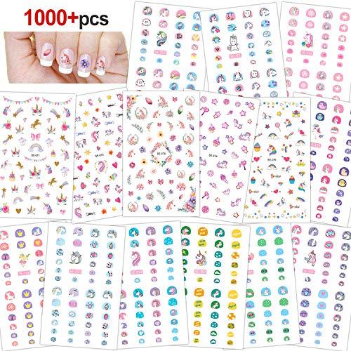 Konsait 100+ Einhorn 3D nagelsticker selbstklebend Einhorn Nagelaufkleber Nail Art Sticker Nagel Abziehbilder für Mädchen Mitgebsel Kindergeburtstag geschenktüten Weihnachten Nagel Dekoration