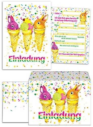 8 Einladungskarten zum Kindergeburtstag Kaninchen incl. 8 Umschläge / Geburtstag / Einladungen / süße Tiere / schöne und Bunte Einladungen für Mädchen / Jungen (8 Karten + 8 Umschläge)