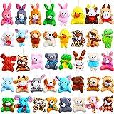 40 Pieces Mini Plush Animals Toys Set Mini Animal Keychain Animal Plush Toys Stuffed Animals Set Animals Plush Keychain for Boys Girls Themed Parties Supplies Presents Goody Bags