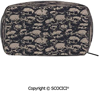 Rectangle Beauty Girl And Women Cosmetic Bags Grunge Scary Skulls Sketchy Graveyard Death Evil Face Horror Theme Design Decorative Printed Storage Bags for Girls Travel