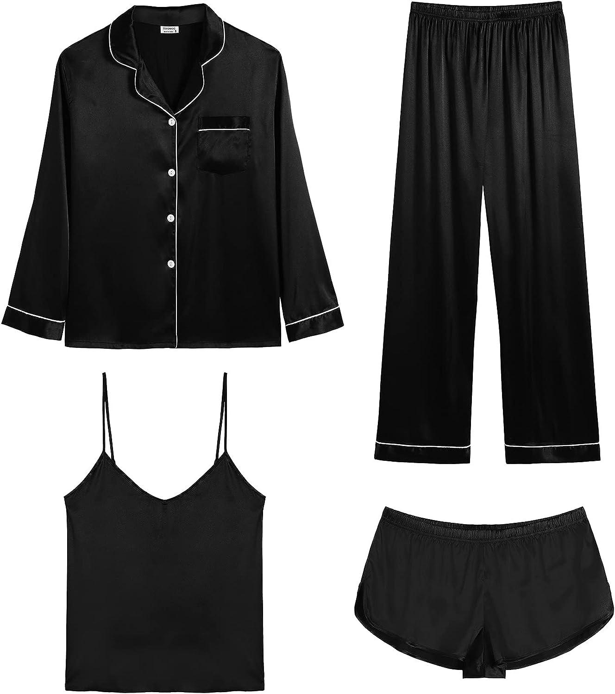 Challenge the lowest price of Japan Washington Mall SWOMOG Womens Satin Pajamas 4pcs Sexy Shorts Pajama Cami Set