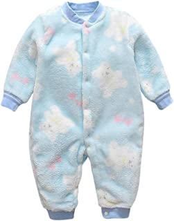 Mayunn Newborn Baby Boys Girls Cotton Cartoon Bear Fleece Warm Romper Jumpsuit Soft Pajamas Outfits Set Clothes (0M-18M)