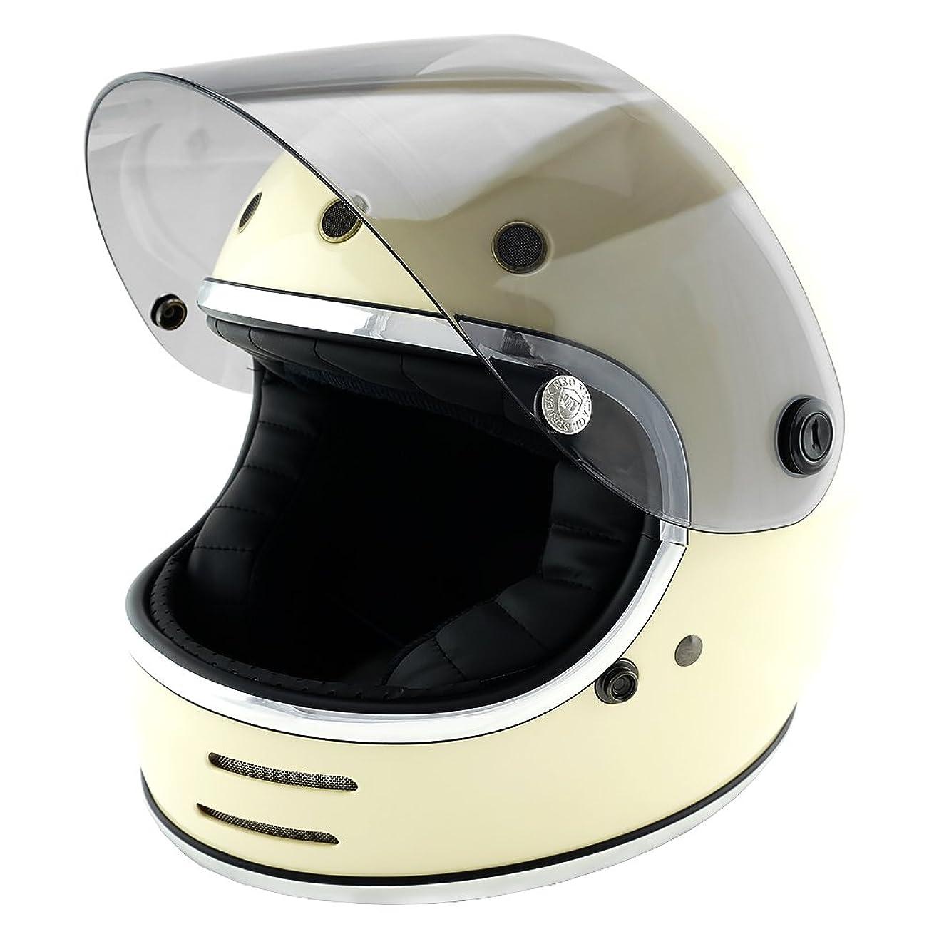 盆大学院補正NEO VINTAGE レトロフューチャー フルフェイス SG規格品 [アイボリー×ライトスモークシールド Lサイズ:59-60cm対応] VT-9 バイクヘルメット