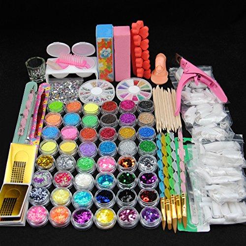 Coscelia Complète 48 Pot Acrylique Nail Art Poudre Paillettes Gel UV Coupe-ongles Brosse Embouts Set