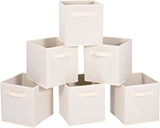 MaidMAX Cloth Storage Bin with Dual Handles for Home Closet Nursery Drawers Organizer, Foldable, Beige, 10.5×11 inches, Set of 6, 6-Pack,