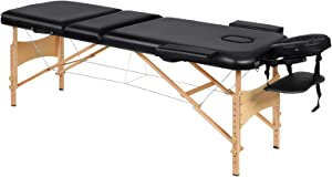 Portable Massage Table Professional Adjustable Folding Bed with 3 Sections Wooden Frame Ergonomic Headrest and Carrying Bag for Therapy Tattoo Salon Spa Facial Treatment