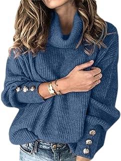 Macondoo Womens Button Pullover Turtleneck Plus Size Rib-Knit Jumper Sweater