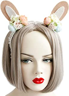 Rose Noir Women Girls Black Gothic Rose Lace Headband Spiderweb Reindeer Witch Hair Accessories Halloween Christmas Party (Flower bunny)