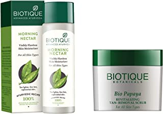 Biotique Morning Nectar Flawless Skin Lotion for All Skin Types, 190ml And Biotique Bio Papaya Revitalizing Tan Removal Sc...