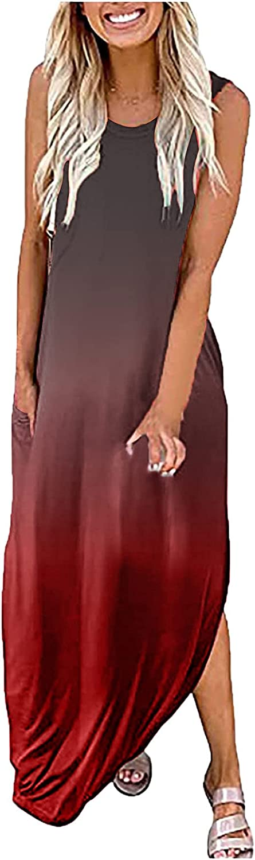 Summer Tank Dress for Women Casual Gradient Print Sundress O Neck Sleeveless Beach Dresses Long Maxi Party Ball Gowns