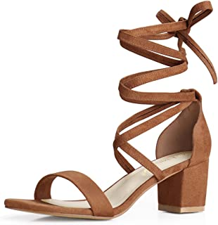 Allegra K Women's Open Toe Lace Up Mid Chunky Heeled Sandals