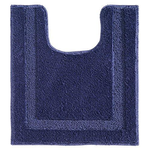 InterDesign Spa Alfombras de baño, alfombra antideslizante para inodoro de microfibra de poliéster, azul marino
