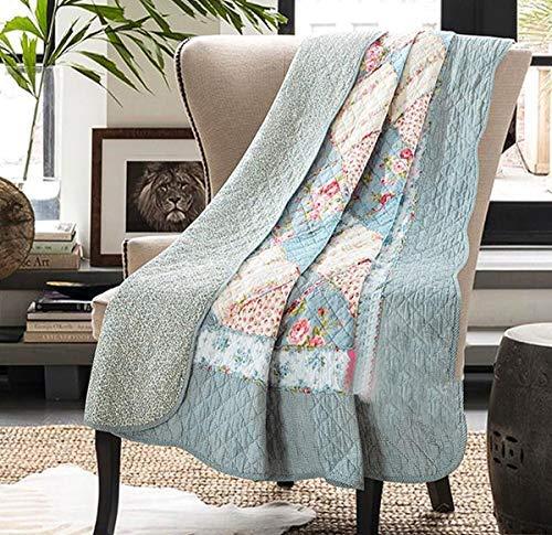 ETDWA Manta Acolchada 100% algodón Reversible Vintage Floral Patchwork colchas de Cama edredón para sofá Cama (127 x 152 cm, mar Poco Profundo)