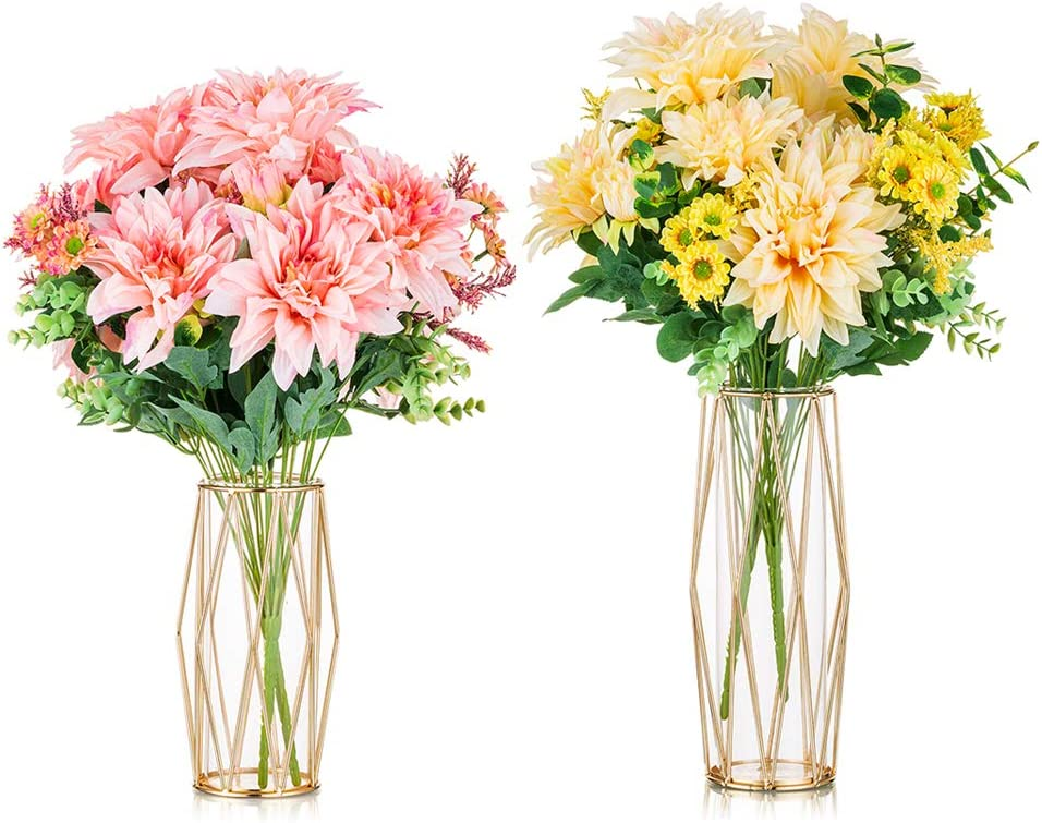 Max 79% OFF 2Pcs Set Glass Flower Vase C Outstanding Stand Metal Hand-Plated Geometric
