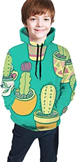 Cyloten Kid's Sweatshirt Cactus Garden Novelty Hoodies Comfortable Warm Hooded Top Sweatshirt