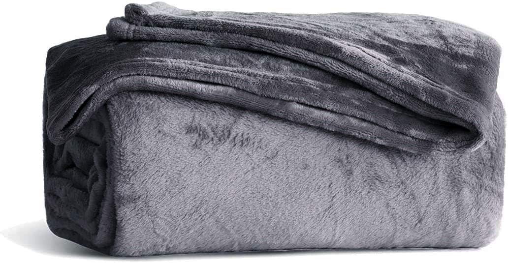 KMUSET Fleece Blanket Dark Grey Queen Size Lightweight Cozy Plush Microfiber Bed Blanket Factory Shop