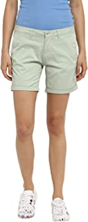 KVL Women's Regular Fit Solid Shorts - (Green)