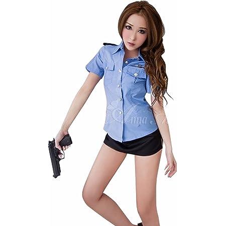 Anna Mu ハロウィン 仮装 ポリス コスプレ 衣装 2点セット 警察官 大人用 ブルー×黒 Mサイズ z217-88