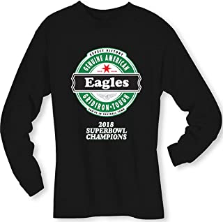 Football- Long Sleeve Eagles (2018 Super Bowl Champions) Block Lettering Beer Shirt - Sizes up to 6XL
