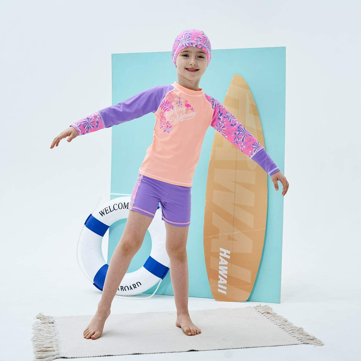 MGEOY Girls 2-Piece Swimsuit Long Sleeve Tankinis Rash Guard Sets for Kids