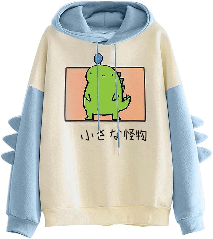 Cute Hoodies for Women Dinosaur Kawaii Oversized Sweatshirt Patchwork Long Sleeve Hooded Shirt Comfy Blouse Pullover Top