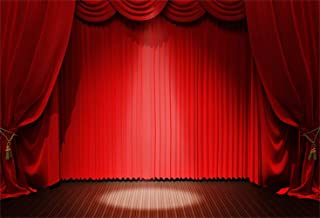 Laeacco 7x5ft Vinyl Photography Background Stage Photo Backdrop Red Velvet Curtain Valance Spotlight Wooden Floor Theme Drama Festival Event Party Photo Studio Props