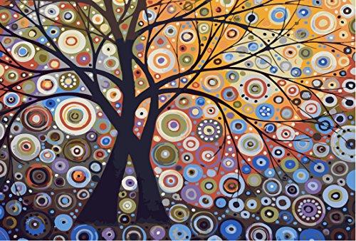 YEESAM ART DIY Ölgemälde Malen nach Zahlen Erwachsene Kinder, Abstrakter Geometrischer Muster Baum Zahlenmalerei ab 5 Öl Wandkunst (Baum, mit Rahmen)