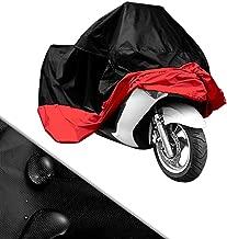 Funda para Moto Cubierta de Moto Protector Poliéster Impermeable Reflectante Motocicleta Anti-Polvo Lluvia Nieve UV Agua Aire Libre con el Bolso del Almacenaje Talla XXL (265cm) Cubierta para Moto/Motocicleta Negro y Rojo