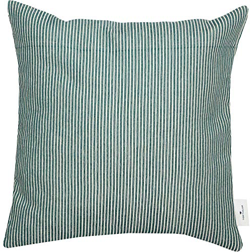 TOM TAILOR Deko Kissen Needlestripe • Kissenbezug 40x40 grün • Deko Wohnzimmer • ohne Füllung • Zierkissenhülle
