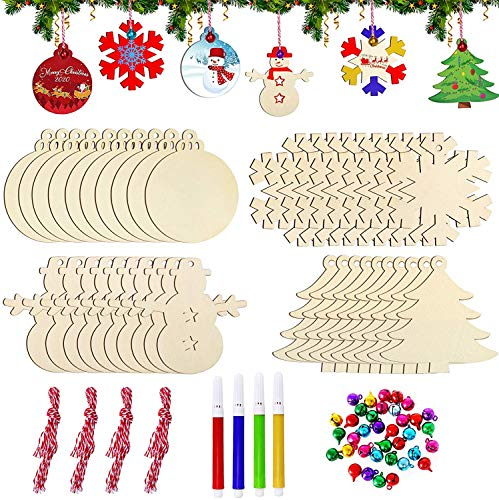 Vsadey 40 Stück Holz Weihnachtsbaum Anhänger mit 40 Glöckchen & 4 Stifte, Weihnachten Ornamente Deko zum Aufhängen, DIY Weihnachtsdekoration, 4 Arten Basteln Holzanhänger