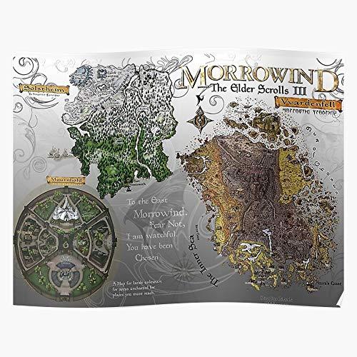 fashionAAA Map Retro Ilands 3 Gaming Vintage Morrowind Vvardenfell Islands Das eindrucksvollste und stilvollste Poster für Innendekoration, das derzeit erhältlich ist