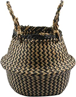 loinhgeo-Exquisite Durable Vintage Folding Straw Wicker Storage Basket Handle Garden Flower Pot Planter Laundry Bag - Black S