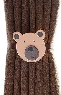 HCY 1Pair Kid's Room Magnetic Curtain Tiebacks Cartoon Curtain Buckle Decor Drapes Holder (Bear)