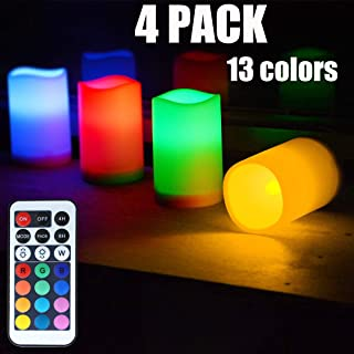 Chasgo 4 Packs Flameless Candles Battery Operated Fake Candles Light with Remote Control Candles Changing Color Candle Sets for Wedding Decor, Christmas Decor, Birthday and Room Decor
