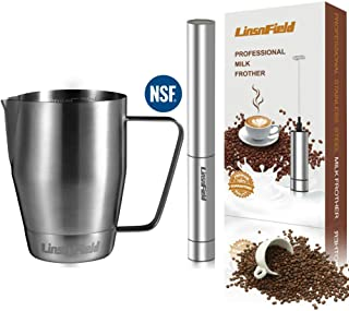 MILK FROTHER COMPLETE SET - LinsnField 19,000 rpm Cordless Milk Frother Handheld & Pro-Grade Premium 304 S/S 32oz Milk Pitcher - NO ELECTROPLATING or HIGH MANGANESE STEEL - LONGER LASTING Foam Maker