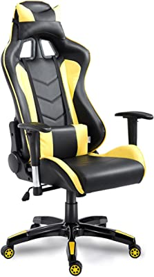 GHP 264-Lbs Capacity Yellow PU Leather Racing Style Gaming Office Chair with Armrests