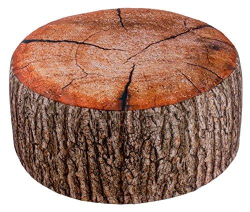 Brandsseller Outdoor Pouf Sitzhocker Sitzsack für drinnen und draußen aufblasbar - Baumstammdesign - 55 x 25 cm - Farbe: Braun