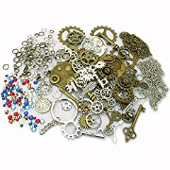 Total 320 pcs Steampunk charm necklace DIY kit includes 45 vintage bronze/silver steampunk gears/key/wings parts with assorted size with necklace chain/jump rings/lobster clasps and mixed color rhinestone flat base beads. Perfect for scrapbooking pro...