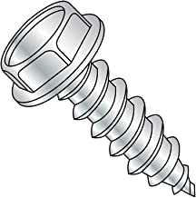 "Steel Sheet Metal Screw, Zinc Plated, Hex Washer Head, Hex Drive, Type A, 10-12 Thread Size, 1-3/4"" Length (Pack of 2000)"