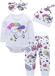 Toddler Baby Girls Boys 4Pcs Clothes Sets for 0-18 Months,Rainbow Horse Cartoon Printed Shirts Pants Hat Hair Strap Outfits