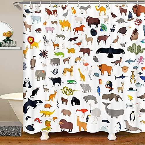 Cortinas de baño con diseño de animales de acuarela, impermeables, para niños, adolescentes, temática de vida silvestre con 12 ganchos para bañera, 183 cm de ancho x 183 cm de largo