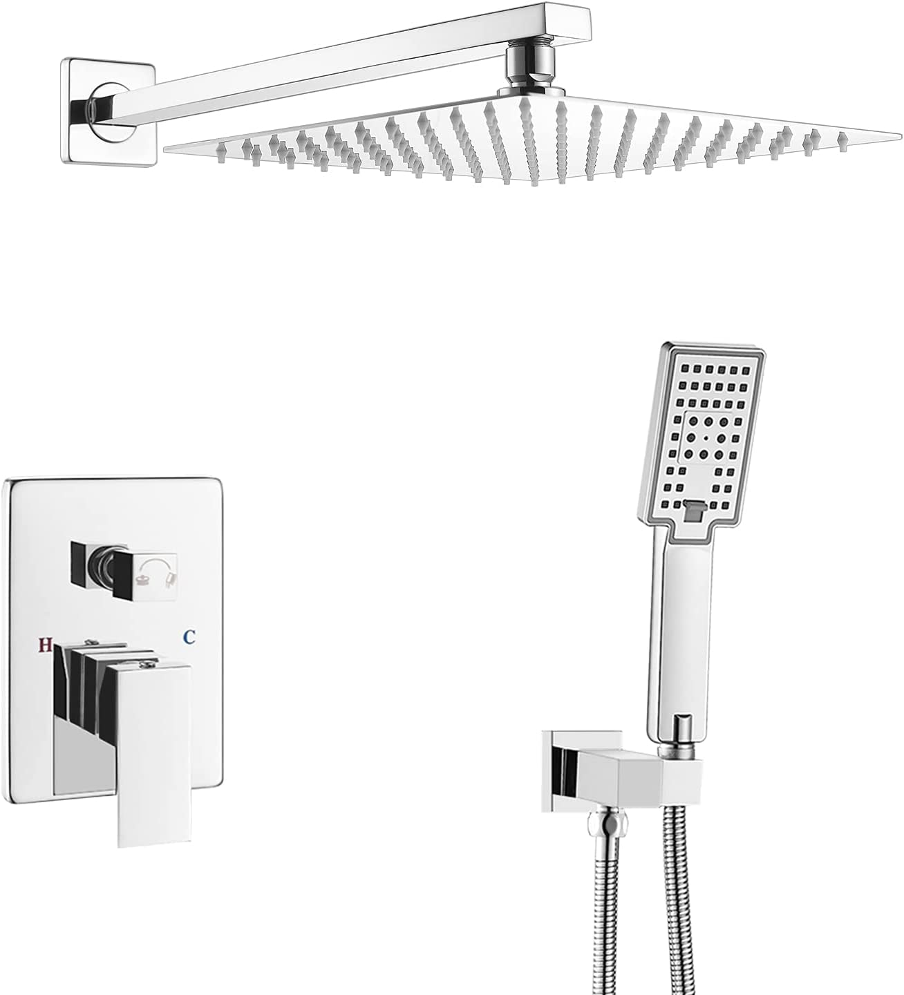 ROVOGO Bathroom Rain Mixer Shower Combo Set, Wall Mount Concealed Rainfall  Shower Head System, Brass Shower Faucet Rough In Valve Body and Trim+20inch  ...