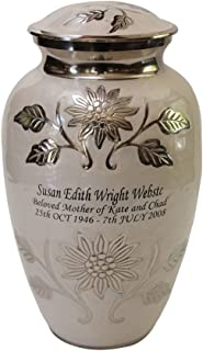 Pearl White Brass Funeral Cremation Urn for Human Ashes with Personalization