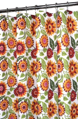 Park B. Smith Botanical Garden floarl Shower Curtain, orange and yellow flowers and sunflowers