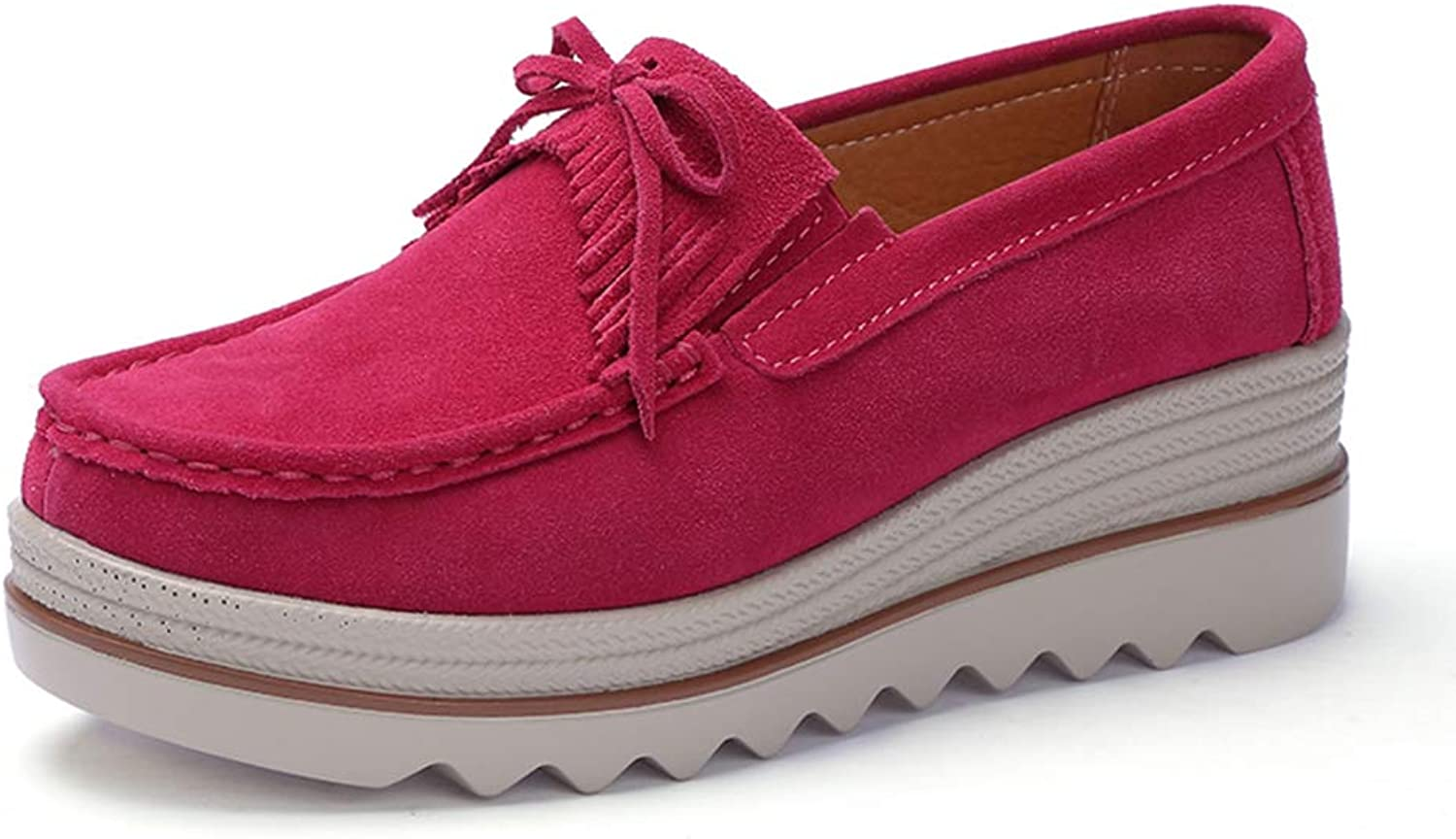 Ruiatoo Women Platform Slip On Loafers Comfort Genuine Suede with Tassel Wedge shoes Low Top Moccasins pink Red 36