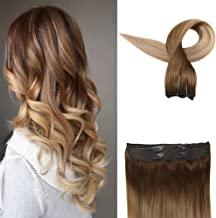 Easyouth Crown Human Hair Extensions 12inch 70g Color 10 Light Brown Fading to 14 Golden Blonde Colored Real One Piece Hair Human Invisible Line Extensions