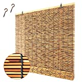 Bamboo Blinds,Bamboo Roller Blinds,Roll-up Shades for Outdoor Use,Made of Reed,Bamboo Roman Window Shades Blinds with Lifter,forPorch,Courtyard,Balcony,Kitchen,Doors