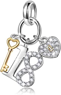 NINAQUEEN Lucky No.18 Christmas Charms Gifts 925 Sterling Silver 18 Years Old Birthday Gift Heart Key Pendant Dangle Charms, Ideal Adult Gifts for Daughter